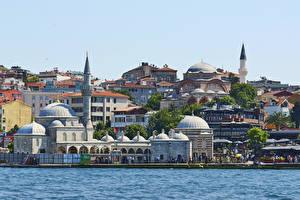 Картинки Турция Стамбул Дома Побережье Города