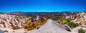 Картинка Турция Парк Небо Пейзаж Скала Göreme, Cappadocia, panorama