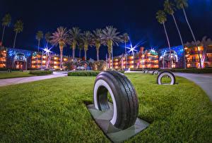 Обои Штаты Диснейленд Парк Дома Калифорнии Анахайм Дизайна HDR В ночи Пальм Покрышка город