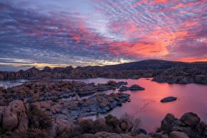 Обои для рабочего стола США Озеро Камень Гора Рассветы и закаты Небо Watson Lake, Arizona Природа