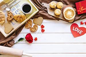Фотография День святого Валентина Кофе Шаблон поздравительной открытки Сердце Пища