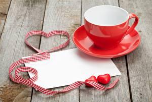 Картинки День святого Валентина Чашке Сердце Ленточка Доски