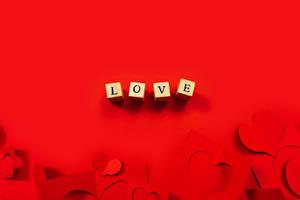 Фотографии День святого Валентина Любовь Шаблон поздравительной открытки Красный фон Куб Сердце Слова Английский