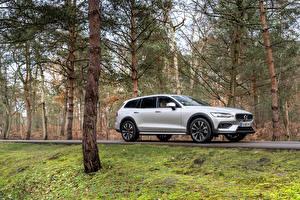 Обои для рабочего стола Вольво Серебристая Металлик Универсал Volvo V90 B4 Cross Country, 2020 -- авто
