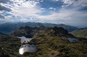 Обои Андорра Гора Озеро Небо Облачно Juclar Lakes