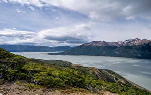Фото Аргентина Горы Озеро Облака Lago Argentino, Patagonia Природа