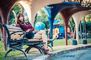 Фото Азиатки Скамья Сидящие Ног Взгляд Размытый фон молодые женщины