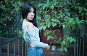 Картинка Азиатка Размытый фон Брюнетка Взгляд молодые женщины