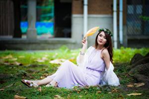Обои Азиаты Размытый фон Траве Листва Шатенки Сидит Девушки