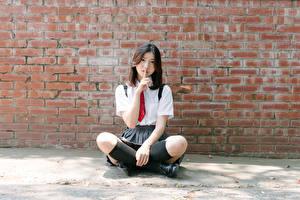 Фотография Азиатка Жесты Стены Из кирпича Сидящие Брюнетка Галстуке Руки Ноги Гольфах девушка