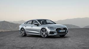 Обои Audi Серебристый Hatchback, A7, Sportback, quattro, 2018 Автомобили картинки