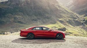 Фотография Bentley Сбоку Красный Twin Turbo, Flying Spur 2021 автомобиль