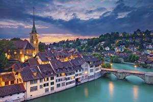 Картинки Берн Швейцария Рассветы и закаты Реки Мост Здания river Aare Города