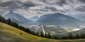 Обои Канада Парк Горы Пейзаж Банф Облака Долина