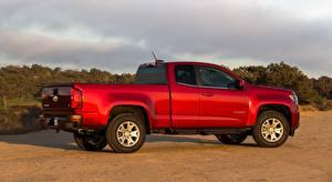 Обои для рабочего стола Chevrolet Пикап кузов Красная Сбоку Colorado, LT Extended Cab, 2014 авто