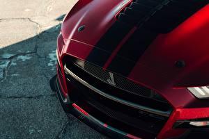 Фотографии Крупным планом Ford Полосатый Капот Mustang Shelby GT500 2019 машины
