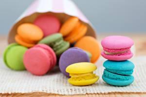 Фотография Печенье Макарон Разноцветные Еда