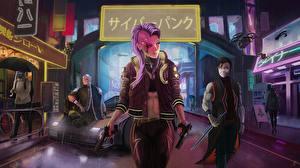 Обои Cyberpunk 2077 Пистолетом Игры Девушки
