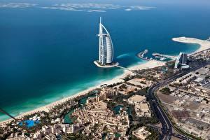 Картинка Дубай ОАЭ Берег Море Гостиницы Сверху Jumeirah Al Naseem Города