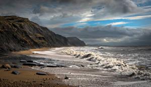 Фотографии Англия Берег Волны Облачно Charmouth Beach