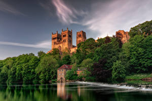 Обои для рабочего стола Англия Реки Водопады Дома Деревья Durham City город Природа