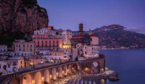 Обои Вечер Дома Италия Atrani, Salerno Gulf Города