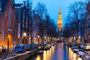 Картинка Вечер Голландия Амстердам Водный канал город