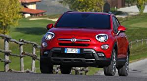 Обои Fiat Спереди Красный Кроссовер 500X, Cross, 2015 машины