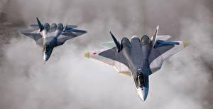 Фотография Истребители Самолеты Вдвоем Полет Русские Su-57