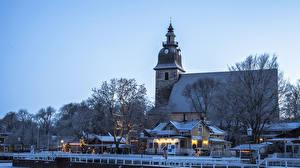 Обои для рабочего стола Финляндия Зима Рождество Дома Причалы Вечер Naantali город