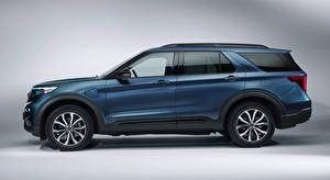 Обои Ford Серый фон Кроссовер Сбоку Explorer, Plug-in Hybrid, ST-Line, 2019 Автомобили картинки
