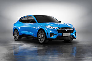 Фотографии Форд Голубая Металлик CUV Mustang Mach-E GT, China, 2021 Автомобили