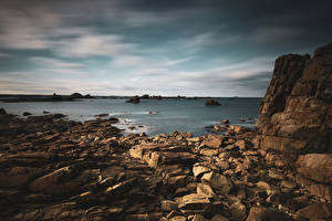 Фотографии Франция Берег Камень Скале Bretagne Природа
