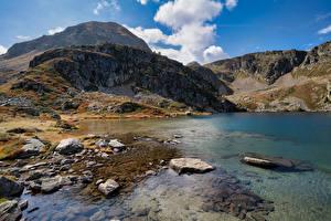 Фотография Франция Гора Камни Озеро Aston Природа