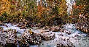 Обои Германия Осенние Леса Река Камень Мосты Бавария Природа