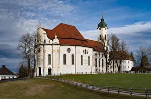Фотографии Германия Церковь Бавария Wildsteig, Wieskirche город