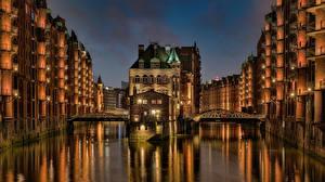 Фотография Германия Гамбург Дома Мост Водный канал Wasserschloss