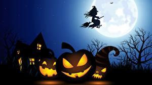 Обои для рабочего стола Хеллоуин Дома Тыква Ведьма Силуэта Луна Ночь