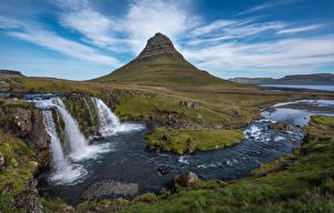 Фото Исландия Гора Водопады Пейзаж Kirkjufell, Kirkjufoss