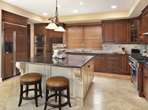 Обои для рабочего стола Интерьер Кухни Дизайна Стола Лампа