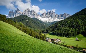 Фотография Италия Горы Луга Альп Dolomites