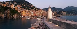 Фотография Италия Горы Здания Лигурия Яхта Лодки Маяк Камень Набережная Ligurian Sea Города