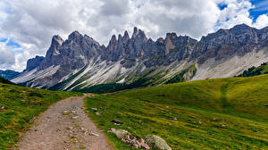 Обои Италия Горы Дороги Альпы Облака Trentino-Alto Adige, Dolomites