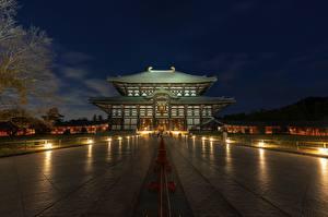 Картинки Япония Храмы Ночь Todai-JI, Nara город