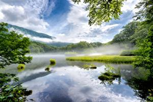 Картинки Озеро Япония Туман Nara Prefecture Природа