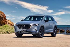 Обои для рабочего стола Mazda Кроссовер Серые Металлик CX-9 GT SP, AU-spec, 2021 машины