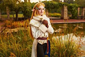 Картинка Михаил Давыдов фотограф The Legend of Zelda Эльфы Взгляд Блондинка Zelda молодые женщины Игры Фэнтези