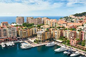 Фотографии Монако Море Здания Яхта Города
