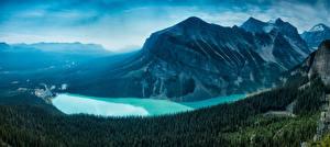 Фото Горы Канада Озеро Леса Пейзаж Банф Lake Louise, Alberta, Canadian Rockies Природа