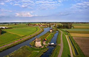 Обои Голландия Реки Поля Дома Дороги Мосты Ветряная мельница Rustenburg